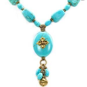 Patricia Nash Floret Charm Turquoise Necklace